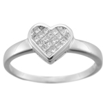 0.20-0.25 Cts  SI2 - I1 clarity and I-J color Heart Shape Diamond Ring in 14K White Gold