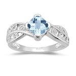 0.01 Cts Diamond & 0.92 Cts of 6 mm AA Cushion Checker Board Aquamarine Ring in 14K White Gold