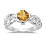 0.01 Cts Diamond & 0.65-0.85 Cts Citrine Ring in 14K White Gold