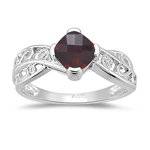 Garnet Ring - Diamond & Garnet Ring in 14K White Gold