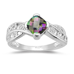 0.01 Cts Diamond & 0.89 Cts of 6 mm AA Cushion Checker Board Mystic Fire Topaz Ring in 14K White Gold