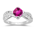 Pink Topaz Ring - Diamond & Pink Topaz Ring in 14K White Gold