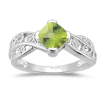 0.01 Cts Diamond & 1.02 Cts AAA Peridot Ring in 14K White Gold