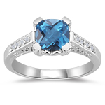Fashion Rings - Diamond & AAA Blue Topaz Ring in 14K White Gold