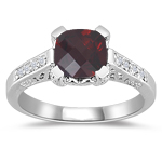 Fashion Rings - Diamond & Garnet Ring in 14K White Gold
