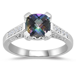 0.12 Cts Diamond & 1.42 Cts AAA Mystic Green Topaz Ring in 14K White Gold