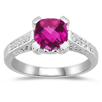 0.12 Cts Diamond & 1.42 Cts Pink Topaz Filigree Ring in 14K White Gold