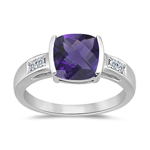 1.60-2.20 Cts Amethyst Ring - Amethyst & Diamond Ring in 14K White Gold