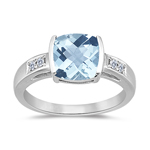 0.09 Cts Diamond & 1.94 Cts Aquamarine Ring in 14K White Gold