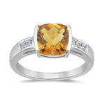 Citrine Ring - Citrine & Diamond Ring in 14K White Gold