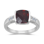 Garnet Ring - AAA Garnet & Diamond Ring in 14K White Gold