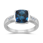 0.09 Cts Diamond & 2.12 Cts London Blue Topaz Ring in 14K White Gold