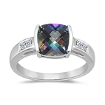0.09 Cts Diamond & 2.12 Cts AAA Mystic Green Topaz Ring in 14K White Gold