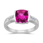 0.09 Cts Diamond & 2.12 Cts Pure Pink Topaz Ring in 14K White Gold