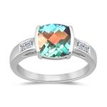 0.09 Cts Diamond & 2.12 Cts AAA Mercury Mist Topaz Ring in 14K White Gold