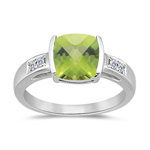 0.09 Cts Diamond & 2.04 Cts AAA Peridot Ring in 14K White Gold