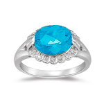 Blue Topaz Ring - 0.07 Cts Diamond and Blue Topaz Fashion Ring in 14K Gold