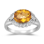 0.07 Cts Diamond & 2.20 Ct 10x8 Oval Citrine Ring in 14K White Gold