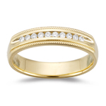 0.30 Cts VS2 Round Diamond Milgrain Wedding Band in 18K Yellow Gold