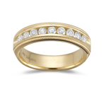 1/2 Cts VS2 Round Diamond Milgrain Wedding Ring in 18K Yellow Gold