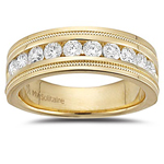3/4 Cts VS2 Round Diamond Milgrain Tapered Wedding Band in 18K Yellow Gold