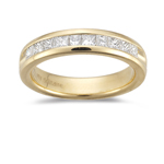 0.45-0.50 Cts SI1-SI2 clarity & I-J color Princess-Cut Diamond Wedding Band in 18K Yellow Gold
