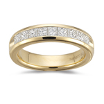 0.95-1.00 Ct SI1-SI2 clarity and I-J color Princess-Cut Diamond Wedding Band in 18K Yellow Gold