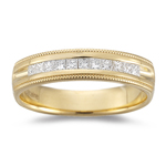 0.20-0.25 Cts  SI1-SI2 clarity and I-J color SI1-SI2 Princess-Cut Diamond Milgrain Wedding Band in 18KY Gold