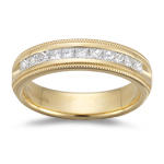 0.45-0.50 Cts  SI1-SI2 clarity and I-J color SI1-SI2 Princess-Cut Diamond Milgrain Wedding Band in 18KY Gold