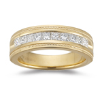 0.70-0.75 Cts  SI1-SI2 clarity and I-J color SI1-SI2 Princess-Cut Diamond Milgrain Wedding Band in 18KY Gold