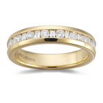 1/2 Cts VS2 Round & Baguette Diamond Wedding Band 18K Yellow Gold