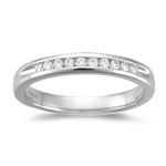 0.18 Ct VS2 Round Diamond Wedding Band Open-ends Channel Set-18KW Gold