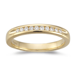 0.15-0.20 Cts SI1-SI2 clarity & I-J color Round Diamond Wedding Band in 18K Yellow Gold