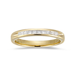 0.10-0.16 Cts  SI1-SI2 clarity and I-J color SI1-SI2 Princess-Cut Diamond Wedding Band in 18K Yellow Gold