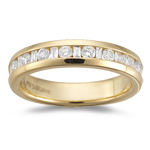 1/4 Cts VS2 Round & Baguette Diamond Wedding Band 18K Yellow Gold