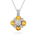 0.11 Cts diamond & 1.16 Cts Mandarin Garnet Pendant in 14K White Gold