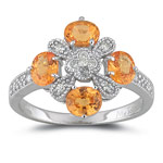 0.12 Cts Diamond & 1.16 Cts AA Mandarin Garnet Ring in 14K White Gold