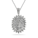 0.53 Cts Marcasite Filigree Pendant in Silver