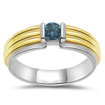 0.26 Cts Blue Diamond Solitaire Mens Ring in 14K Two Tone Gold