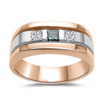 Gents Ring - 1/2 Cts Diamond Band in 14K Pink & White Gold