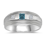 Gents Ring - 1/4 Ct Blue & White Diamond Gold Band
