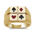 0.01 Ct Diamond Solitaire Men's Enamel Poker Ring in 14K Yellow Gold