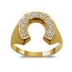 0.28 Cts Diamond Men's Horse-Shoe Ring in 14K Yellow Gold