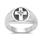 0.01 Cts Diamond Solitaire Men's Cross Ring in 14K White Gold