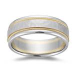 Mens Wedding Band - Two-Tone Gold Wedding Band