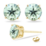 5.50-5.75 Cts of 9 mm AA Round Green Amethyst Stud Earrings in 14K Yellow Gold.