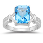 3.50 Cts of 10x8 mm AA Cushion Checker Board Swiss Blue Topaz Solitaire Ring in 14K White Gold