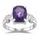 0.01 Cts Diamond & 1.98 Cts Amethyst Ring in 10K White Gold