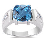 Blue Topaz Ring - 0.06 Cts Diamond & Swiss Blue Topaz Ring