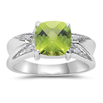 0.01 Cts Diamond & 2.04 Cts Peridot Ring in 10K White Gold